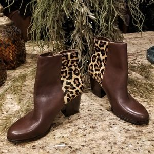 MICHAEL KORS Silvy Leopard Calf Hair Booties 10M